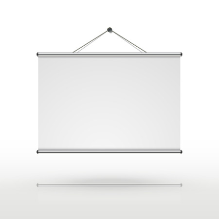 blank projector screen isolated on white background