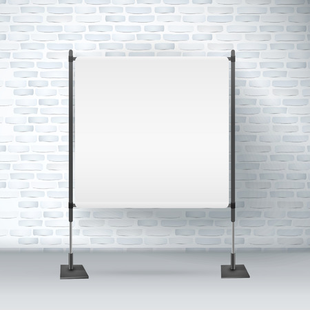 exhibition stand: blank projector screen isolated on brick wall