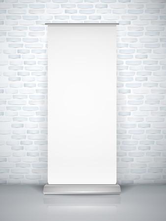 x stand: en blanco rollo de bandera aislado sobre pared de ladrillo Vectores