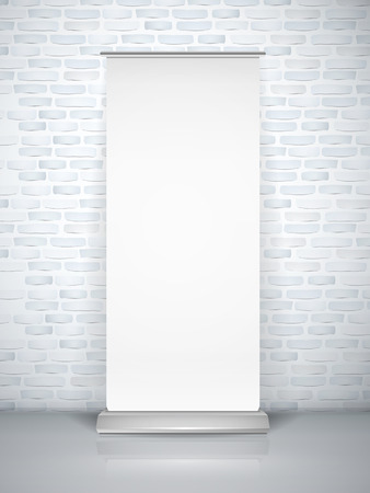 blank roll up banner isolated over brick wall