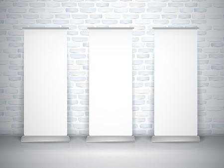 x stand: blanco despliegue de pancartas conjunto aislado sobre la pared de ladrillo Vectores