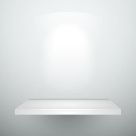 �tag�re bois: vide vide blanc �tag�re en bois avec �clairage