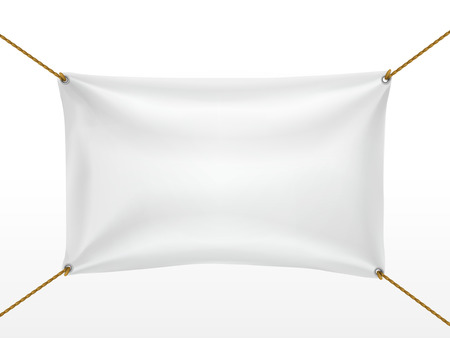 white textile banner isolated on white background