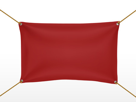 nylon string: red textile banner isolated on white background