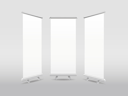 rollup: blank roll-up banners template isolated on white