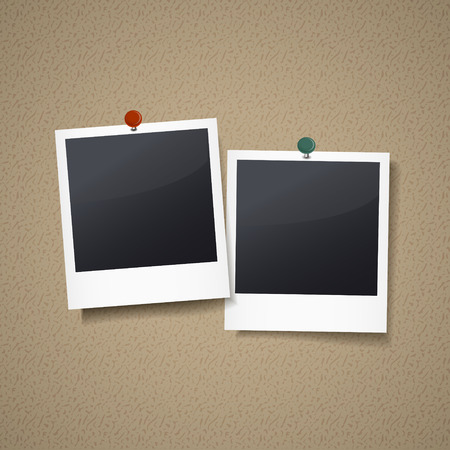 photo frames with pin isolated on corkboard