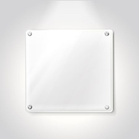 memorial plaque: blank exhibition glass plate isolated on white background Illustration