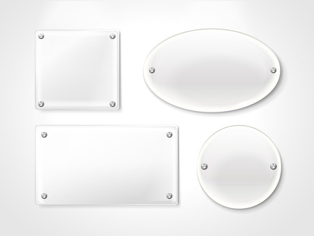 memorial plaque: blank exhibition glass plates isolated on white background Illustration