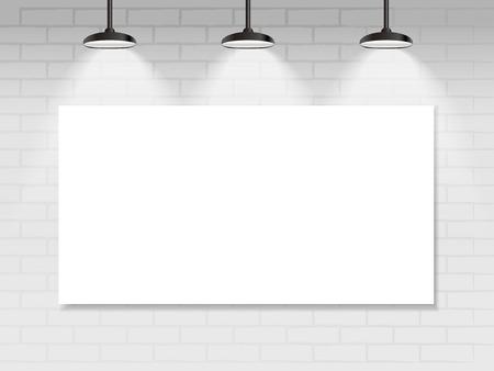 empty frames on wall with illuminated spotlights Vector