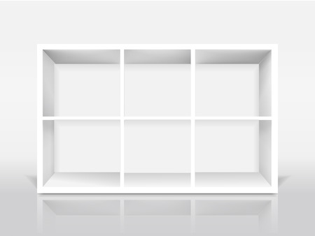 show case: blank modern bookcase isolated on white background