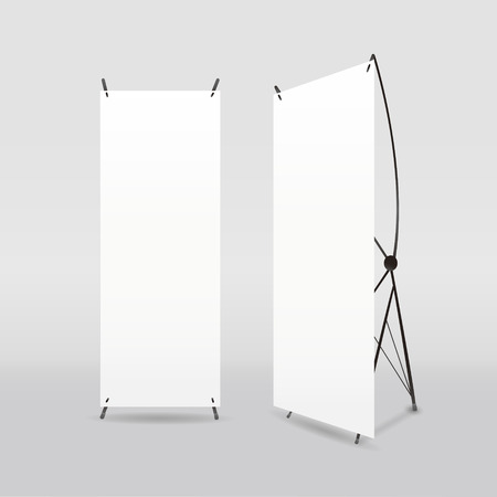exhibition: blank roll-up banners template isolated on white