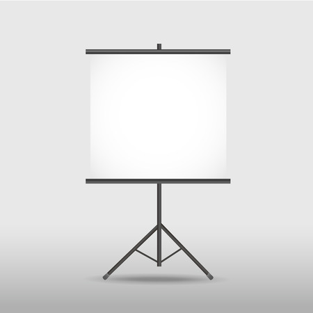 projection screen: blank projection screen on tripod isolated on white