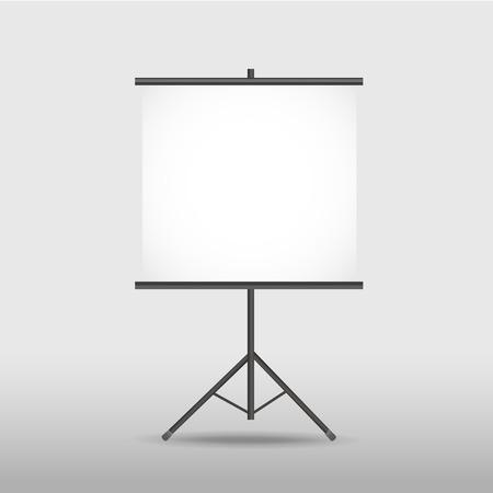 écran de projection blanc sur trépied isolé sur blanc