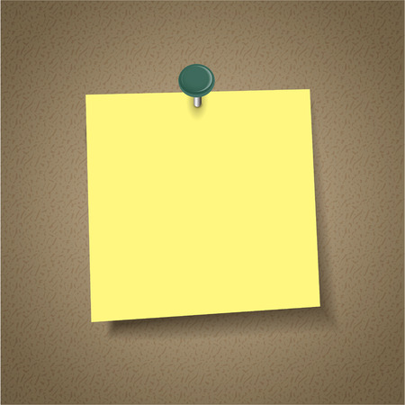 blank note: blank note paper with pin isolated on corkboard