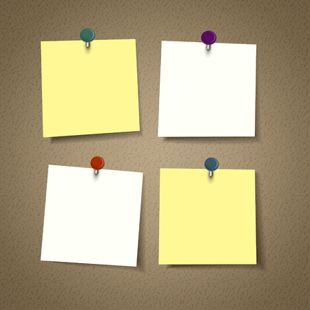 blank reminder sticky note isolated on corkboard Illustration