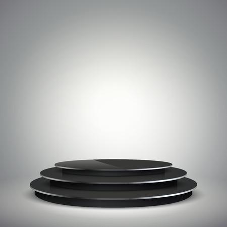 awards ceremony: empty illuminated black podium isolated on grey Illustration