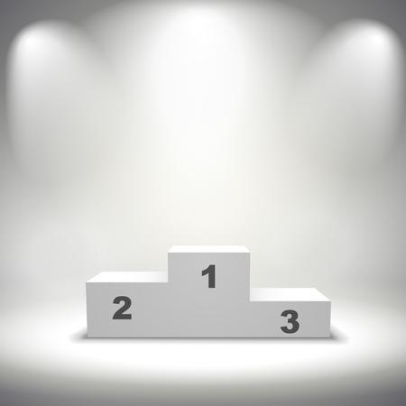 灰色の背景上に分離されて照らされた勝者の表彰台