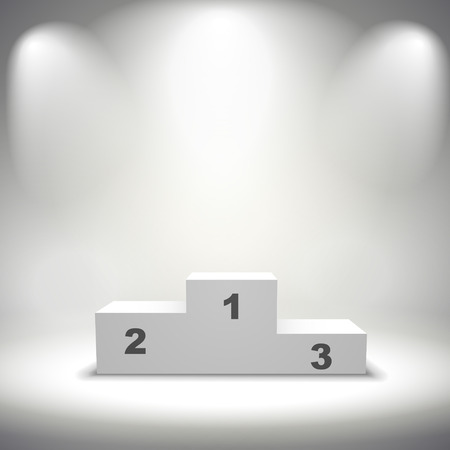 illuminated winners podium isolated on grey background