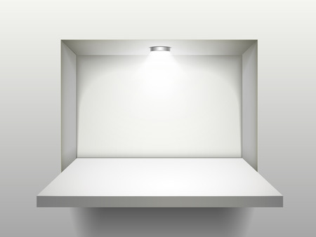 empty shelf with illumination isolated over the wall