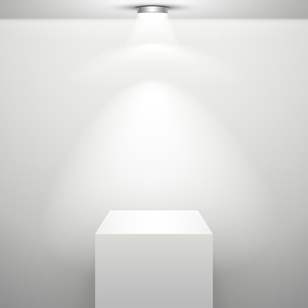 exhibition stand: empty white stand with illumination isolated in the room Illustration