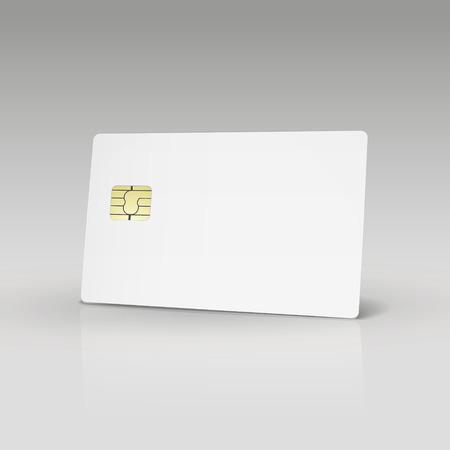 흰색 신용 카드 나 전화 카드 흰색 배경에 고립 일러스트