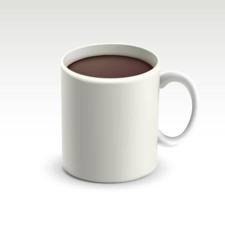 Becher mit heißer Schokolade auf weißem Hintergrund