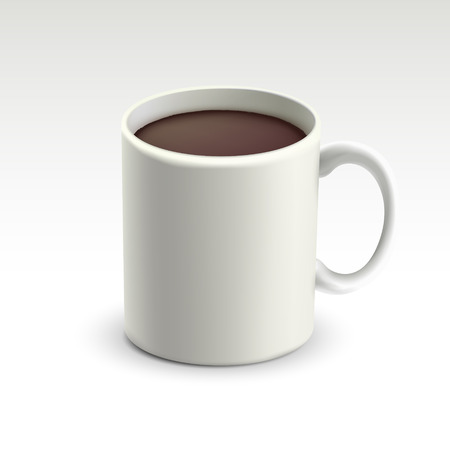 mok met warme chocolademelk op een witte achtergrond