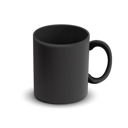 白い背景に分離された空白の古典的な黒マグカップ