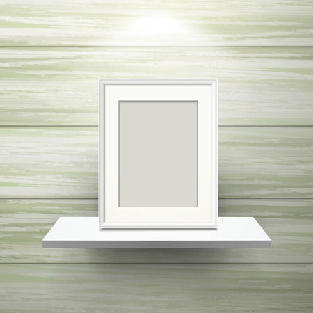 picture frame on shelf with illumination over wooden wall Vector
