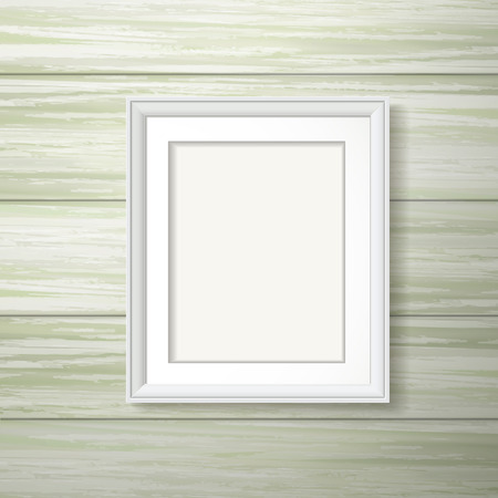 white framework hanging on the wooden wall Vector