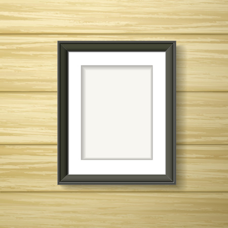 black framework hanging on the wooden wall Vector