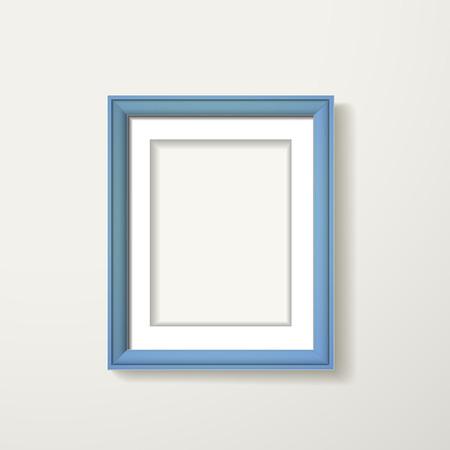 blauwe kader opknoping over de witte muur Stock Illustratie