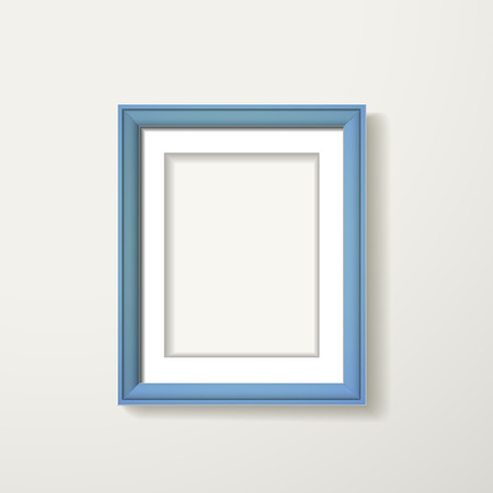 blue framework hanging over the white wall Illustration