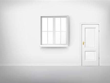 3d empty room with window and door