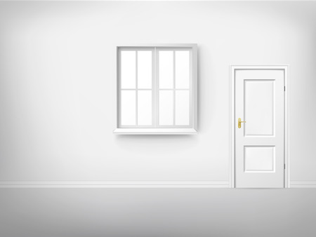 3d empty room with window and door Vector
