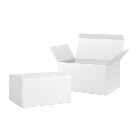 open and closed blank boxes isolated on white Vector
