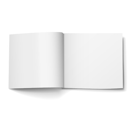 blank open magazine isolated on white background