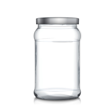 empty glass jar isolated on white background Stock Illustratie
