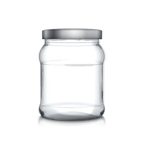 empty glass jar isolated on white background Ilustracja