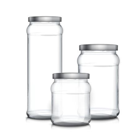 single object: empty glass jars set isolated on white background Illustration