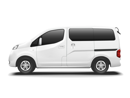 white commercial van isolated on white background Vectores
