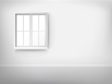 white window: 3d empty room with window over the wall Illustration