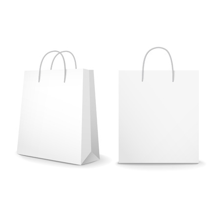 commercial recycling: blank paper bags set isolated on white background