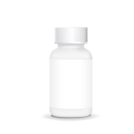 placebo: white plastic medical container isolated on white background Illustration