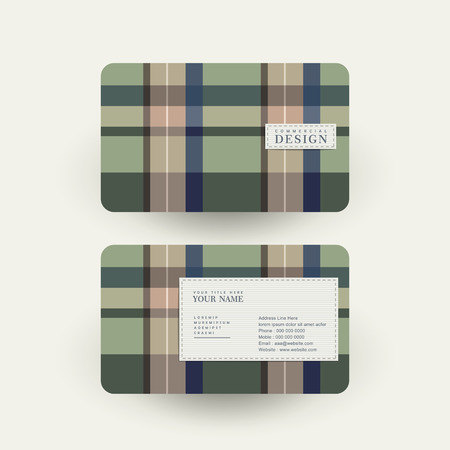 criss cross: abstract plaid design business card template in green