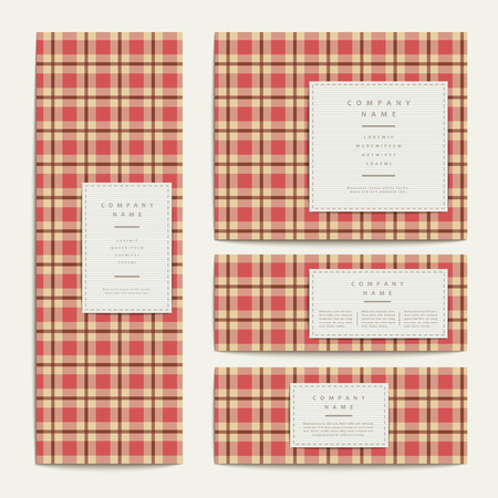 criss cross: plaid design banners template set in red Illustration