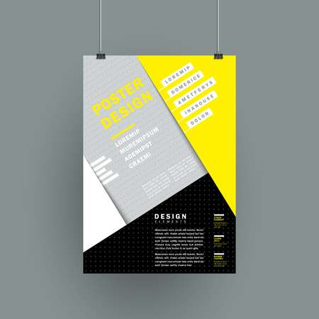 yellow line: modern paper texture poster in yellow and grey