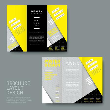 textura papel: moderna textura de papel de plantilla tr�ptico en amarillo y gris