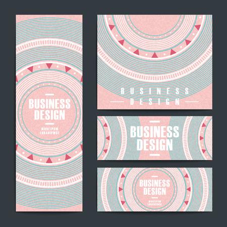interesting music: modern pink vinyl record design for banners set Illustration