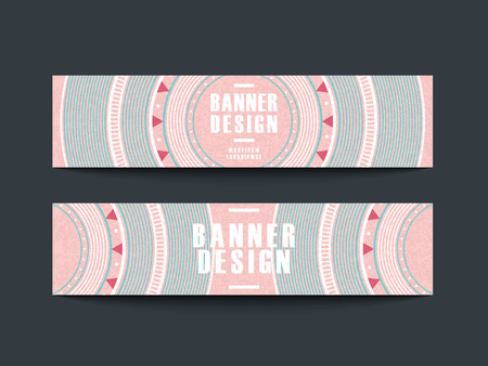 バナー広告の一連のモダンなピンクのビニール レコード デザイン